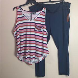 Women's Plus Size 3X leggings MTA & Poof tank top